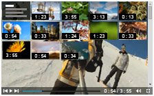 Playlist over Video with small thumbnails